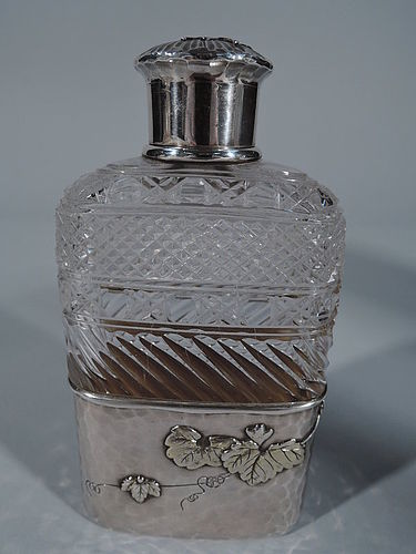 Tiffany Japonesque Brilliant-Cut Glass & Applied Sterling Silver Flask