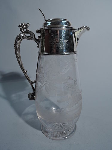 Antique Victorian English Sterling Silver Decanter with Fox Hunt
