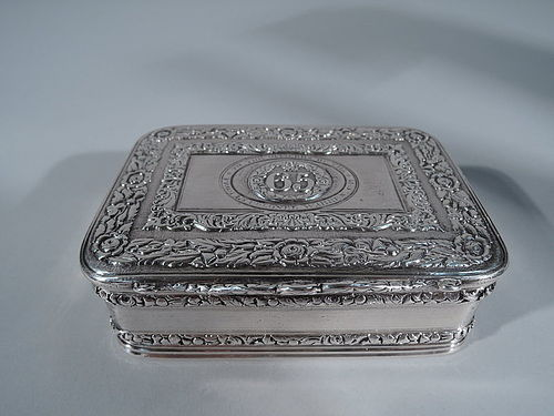 Antique English Georgian Sterling Silver Regimental Snuff Box 1822