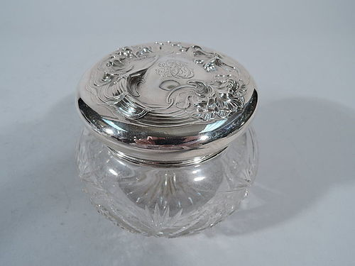 Ungers Bros. Sterling Silver Powder Jar with Art Nouveau Siren