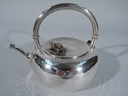 Gorham Japonesque Hand Hammered & Mixed Metal Teapot with Frog & Mouse