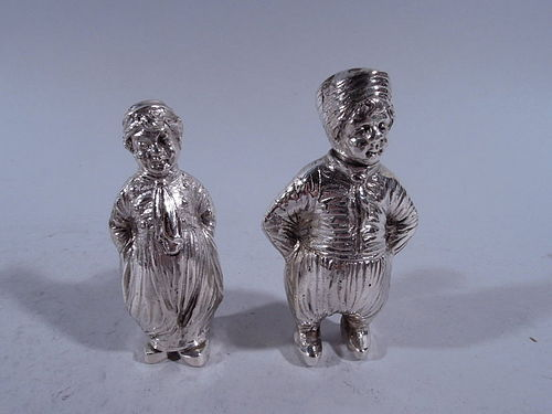 Pair of German Silver Country Children Salt & Pepper Shakers
