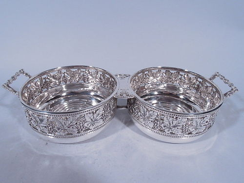 Buccellati Sterling Silver Double Coasters - Holds 2 Wine Bottles