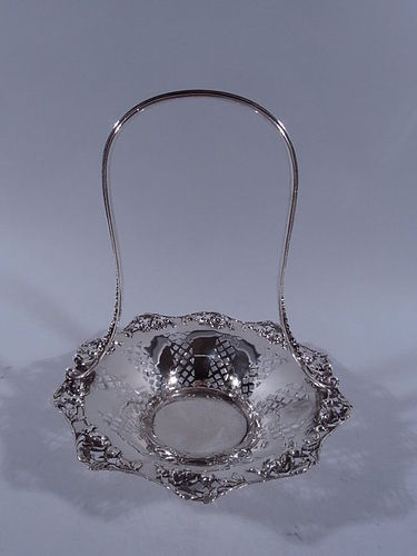 Elegant Tiffany Sterling Silver Basket with Roses C 1904