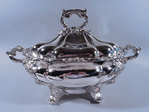 Antique Regency English Sheffield Plate Tureen with Oak Leaf & Acorn