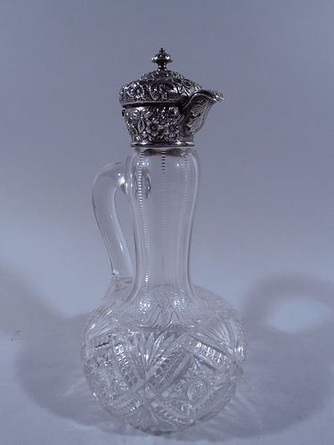 Antique Cut Glass & Sterling Silver Decanter by Jacobi & Jenkins