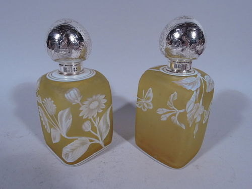 Pair of Webb Cameo Art Glass Japonesque Perfumes