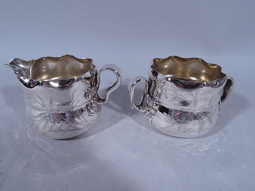 Whiting Japonesque Sterling Silver Creamer & Sugar C 1880