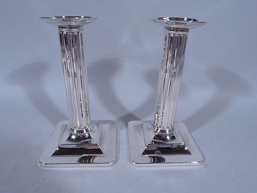 Pair of Tiffany Sterling Silver Modern Classical Column Candlesticks