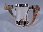 Gilded Age American Sterling Silver Trophy Cup with Horn Handles