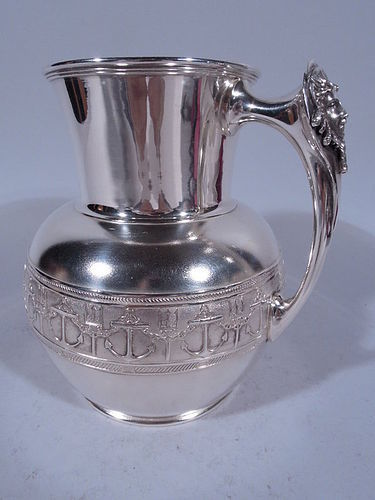 Antique Gorham Sterling Silver Anchor's Away Nautical Water Pitcher