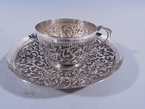 Indian Exotic Silver Teacup on Saucer