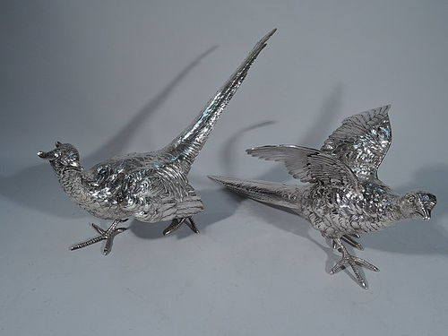 Pair of Antique Sterling Silver Pheasants by Marshall Field & Co.