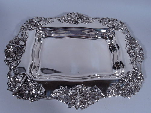 Fancy Antique American Sterling Silver Serving Bowl by Frank W Smith