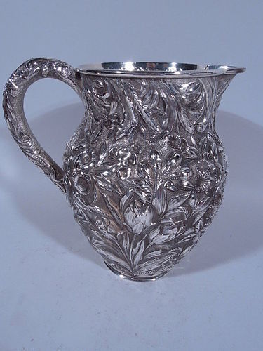 Antique Kirk Repousse Sterling Silver Water Pitcher