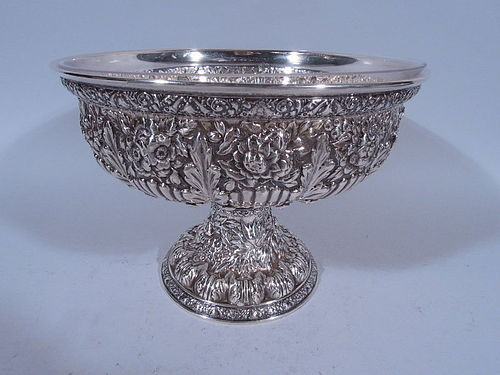 Antique Tiffany Repousse Sterling Silver Compote