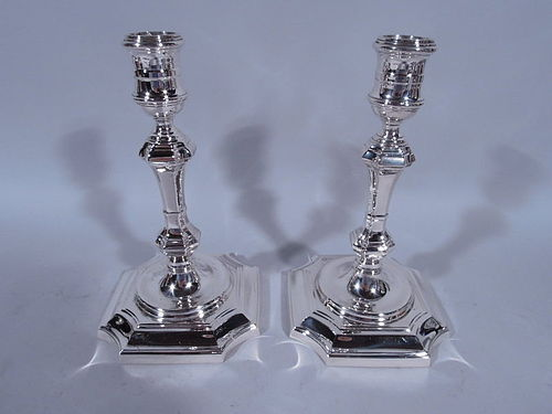 Pair of English Queen Anne Sterling Silver Candlesticks by Tiffany