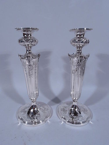 Pair of American Edwardian Sterling Silver Candlesticks