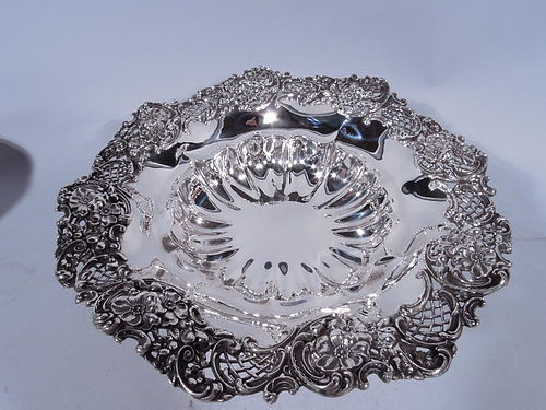 Fancy Antique American Sterling Silver Compote by Redlich