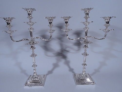 Pair of English Georgian Style Sterling Silver 3-Light Candelabra 1913