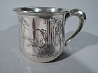 Antique Kerr Sterling Silver Baby Cup with Super Sweet Animals