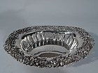 American Sterling Silver Serving Bowl with Fancy Flowers by Mauser