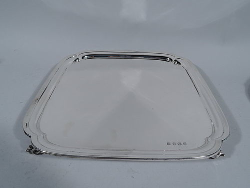 Traditional English Sterling Silver Square Salver Tray