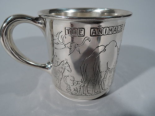 Antique American Sterling Silver Noah's Ark Baby Cup