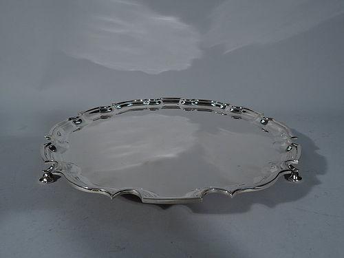 Tiffany Sterling Silver Georgian Salver Tray with Piecrust Rim