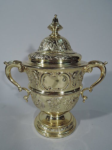 Richly Gilt English Sterling Silver Trophy Cup 1916