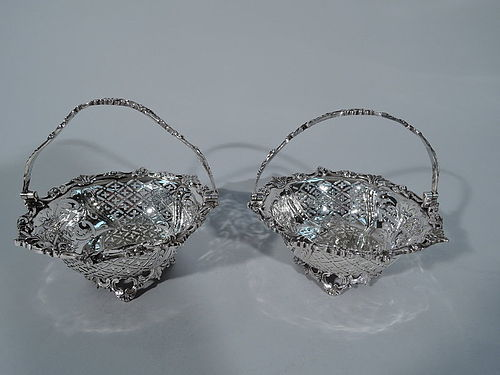 Pair of Pretty Antique English Sterling Silver Baskets