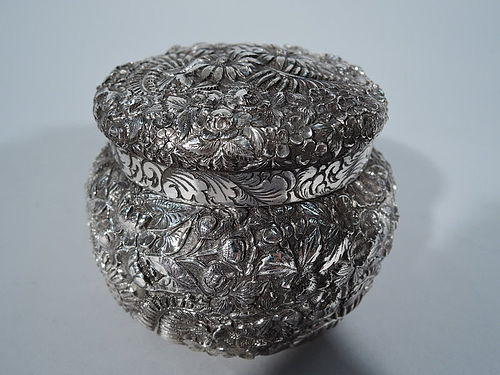 Beautiful Baltimore Sterling Silver Box with Floral Repousse