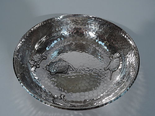Wonderful Tiffany Hand Hammered Bowl with Applied Turtles