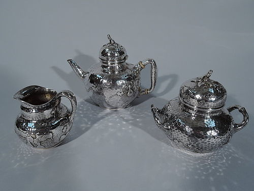 Tiffany Japonesque Hand Hammered Sterling Silver & Applied Tea Set
