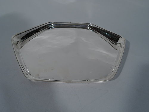 Tiffany Sterling Silver Hexagonal Tray with Unusual Asymmetrical Rim