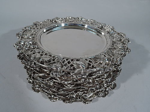 Set of 10 American Art Nouveau Sterling Silver Plates with Roses