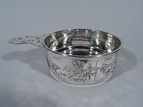 Great Baby Gift - Antique Kerr Sterling Silver Nursery Rhyme Porringer