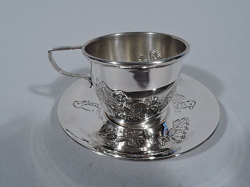 Sterling Silver Teacup and Saucer with Sweet Animals