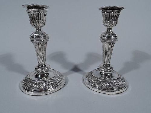 Pair of English Neoclassical Sterling Silver Column Candlesticks