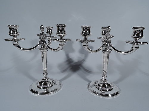 Pair of Cartier French Silver 3-Light Modern Classical Candelabra