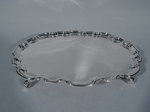 Traditional English Sterling Silver Salver Tray in Hard to Find Shape
