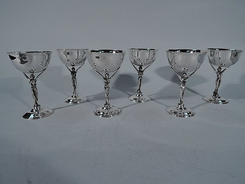 Set of 6 Jazz Age Sterling Silver Cocktail Cups with Glamour Girl Stem