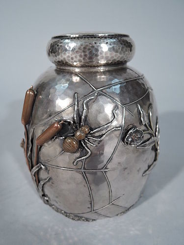 Fabulous Japonesque Sterling Silver & Mixed Metal Tea Caddy by Gorham
