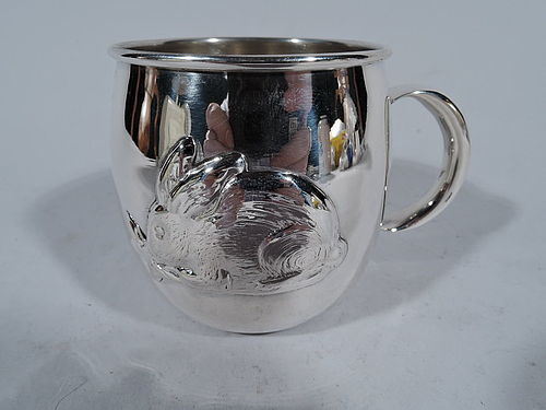Bunny Mug - Sweet Sterling Silver Baby Cup with Rabbit