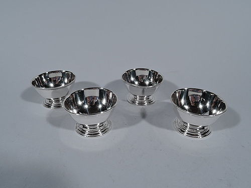 Set of 4 Tiffany American Modern Sterling Silver Open Salts