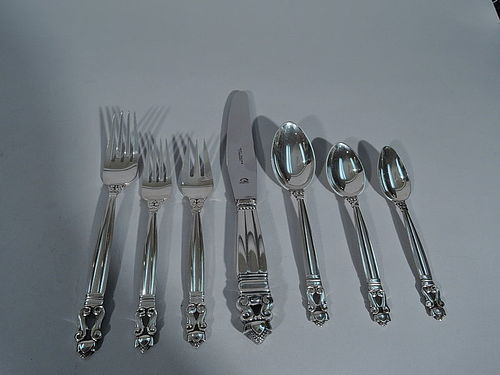 Georg Jensen Acorn Sterling Silver Dinner Set for 12