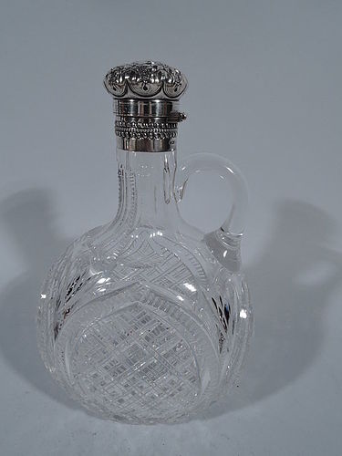 Gorham Brilliant-Cut Glass and Sterling Silver Moon Flask Decanter