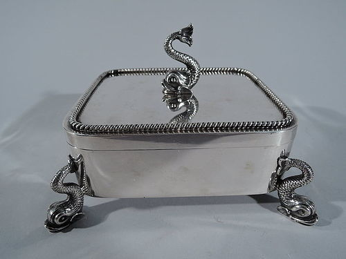 Rare and Early Tiffany Sterling Silver Dolphin Box