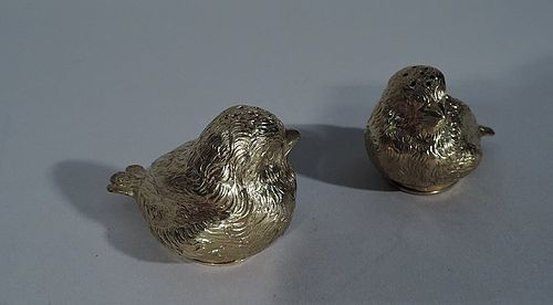 Pair of Sweet Baby Chicks � German Silver Gilt Salt & Pepper Shakers