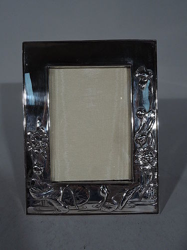 Beautiful Japanese Silver Picture Frame with Lily Pads